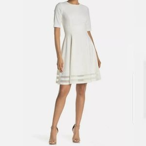 Calvin Klein Fit and Flare White Dress Size 10 NWT